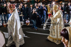 Patriarch Filaret. Pasen 2014 in de Oekraïne 22.04.2014 //St Volod Stock Foto's