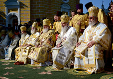 Patriarch Kirill and the other bishops on the liturgy in Kiev Stock Photography