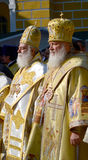 Patriarch Kirill and the other bishops on the liturgy in Kiev Stock Images