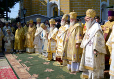 Patriarch Kirill and the other bishops on the liturgy in Kiev Royalty Free Stock Photos