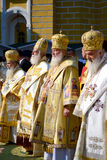 Patriarch Kirill and the other bishops on the liturgy in Kiev Stock Photos