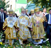 Patriarch Kirill and the other bishops on the liturgy in Kiev Stock Photo