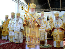Patriarch Kirill and the other bishops on the service in Kiev, i Stock Photo