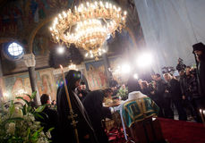 Patriarch Maxim of Bulgaria funeral. Ecclesiastic and believers gathered in Sofia st Nedelya church to pay last respect to patriarch Maxim of Bulgaria Stock Photography