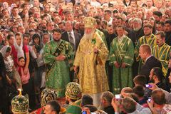 Patriarch of Moscow and All Russia Cyril. On the Visit and worship in the Holy Spirit Cathedral of Chernivtsi city, Ukraine, October 1, 2011, Chernivtsi royalty free stock photography