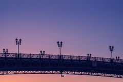 Patriarch`s bridge beautiful sunset. In Russia Royalty Free Stock Image