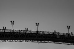 Patriarch`s bridge black and white tonned. Russia Stock Photography