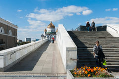 Patriarch's bridge and the cathedral of Christ the Savior Royalty Free Stock Images