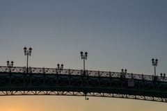 Patriarch`s bridge at the sunset. Russia Stock Images