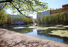 Patriarch's ponds, Moscow. Common name the only extant pond, the surrounding square and a residential district located in the Central administrative district Royalty Free Stock Image