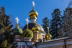 Patriarch's residence onion domes, Moscow Stock Photos
