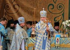 Patriarcha Moskwa i Wszystkie Rosja Kirill celebrat Zdjęcie Stock