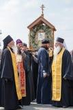 Patriarchaat van Moskou van de parochianen het Oekraïense Orthodoxe Kerk tijdens godsdienstige optocht Kiev, de Oekraïne Stock Afbeelding