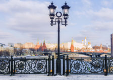 Patriarchal Bridge on the background of the Moscow Kremlin Stock Photo