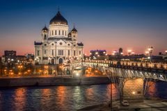 Patriarchal bridge and the Cathedral of Christ the Savior. Moscow. Moscow, Russia. View of the Patriarchal bridge and the Cathedral of Christ the Savior in an stock images