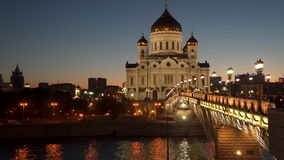 Patriarchal bridge and the Cathedral of Christ the Savior. At night. Moscow, Russia stock video footage