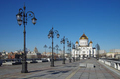 Patriarchal Bridge and The Cathedral of Christ the Saviour in Mo Royalty Free Stock Photos