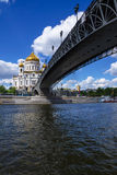 Patriarchal bridge to the Christ the Savior Cathedral in Moscow, Stock Images