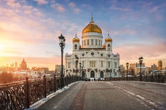 On Patriarchal Bridge. View of the Cathedral of Christ the Savior from the Patriarchal bridge at sunset Stock Image