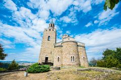 Patriarchal Cathedral of the Holy Ascension of God in Tsarevets. Tsarevets is a medieval stronghold located on a hill with the same name in Veliko Tarnovo in stock photo