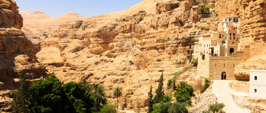 Patriarchal Monastery of Saint George, Judean Desert. Patriarchal Monastery of Saint George - heavy road Stock Photos