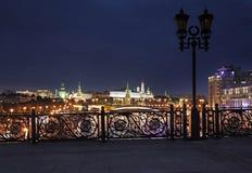 Patriarchiy bridge with view to Moscow Kremlin. Stock Photo