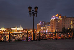 Patriarchiy bridge with view to Moscow Kremlin. Royalty Free Stock Image