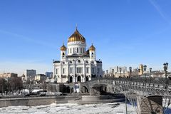 Moscow River, Patriarchy Patriarchal and the Cathedral of Christ the Savior in March royalty free stock images