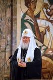 Patriark Kirill av Moskva och all Ryssland på den 7th generalkyrkan Royaltyfria Bilder