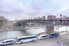 Patriarshy Bridge across the river Moskva Royalty Free Stock Image