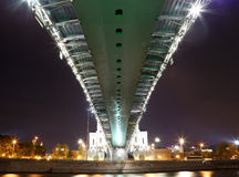 Patriarshy Bridge near temple Christ the Savior Cathedral, Moscow, Russia Stock Photos