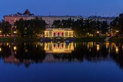 Patriarsi stawy przy nocą moscow Rosja Zdjęcie Stock