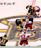 Patrice Bergeron and Eric Staal opening faceoff. Royalty Free Stock Image