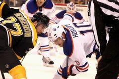 Patrice Bergeron v. Shawn Horcoff (NHL Hockey) Stock Image