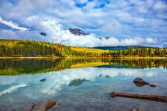 Patricia Lake amongst the evergreen forests. Charming Patricia Lake amongst the evergreen forests and yellow bushes. Warm autumn in the Rocky Mountains of Canada stock photography