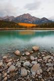 Patricia Lake And Pyramid Mountain Stock Photo