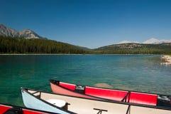 Patricia Lake bij Jaspis, Alberta, Canada Stock Foto's