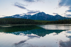 Patricia Lake, Canada. Wonderful reflections on waters of Patricia Lake, Jasper National PArk, Alberta, Canada stock photo