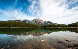 Patricia lake in jasper alberta. Reflection on patricia lake in jasper alberta Stock Photography