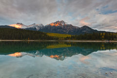 Patricia Lake and Pyramid Mountain, Canada Stock Photos