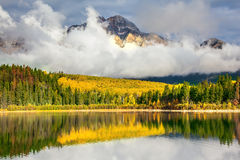 Patricia Lake in Rocky Mountains fotografia stock