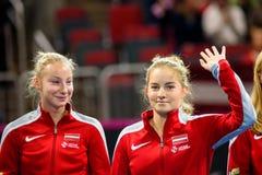 Patricija Spaka und Daniela Vismane stockbilder