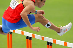 Patricio Colarte of Chile. During 110m hurdles event of the 20th World Junior Athletics Championships at the Olympic Stadium on July 10, 2012 in Barcelona Royalty Free Stock Photos