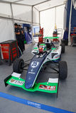 Patricio O'ward. JEREZ DE LA FRONTERA, SPAIN - OCTOBER 19, 2014: French F4 Championship. Patricio O'ward's car sits in garage Royalty Free Stock Image