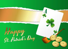 Patrick's Day Background with Card and Coins. Creative Conceptual Design Art of Patrick's Day Background with Card and Coins Royalty Free Stock Photo