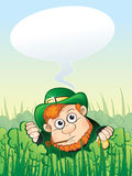 Patrick. Leprechaun with speech bubble for St. Patrick Day - vector stock illustration