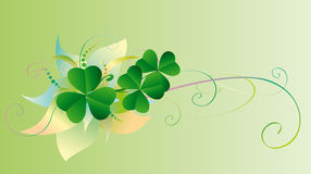 Patrick abstract background. With green decorative shamrock Royalty Free Stock Photo