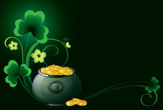 Patrick background with pot. Coins and shamrock Royalty Free Stock Images