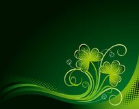Patrick-Blumenhintergrund mit Shamrock Stockbilder