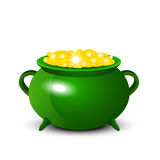 Patrick Day background with cauldron of gold coins. Vector illus Stock Photos